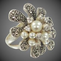 Chapal-Zenray Sterling Silver & Marcasites HUGE Floral Ring