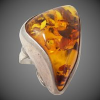 Large Baltic Amber Size 8 3/4 Sterling Silver Ring