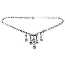 Rhodium Plated Art Deco Rhinestone Necklace