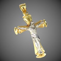 14k White Gold & Yellow Gold Crucifix Pendant