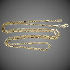 """14k Solid Gold 20"""" Long Unusual Pattern Necklace"""