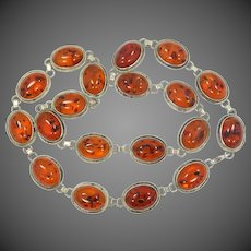 """23"""" Long Sterling Silver & Baltic Amber Necklace"""