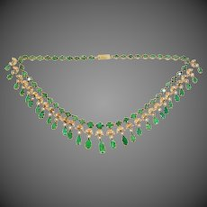 India 14k Gold Natural Emeralds & Seed Pearls Bib Necklace