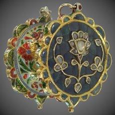 Vintage 22k Gold Diamonds & Sapphires Polki Kundan Pendant
