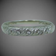 14k White Gold 5 Diamond Stacking Band Wedding Ring