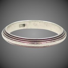 800 Silver Ridged Stacking Band Size 8 1/2