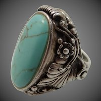 Chapal-Zenray Sterling Silver Turquoise Southwestern Ring