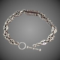 Solid Sterling Unisex Pierced Links Bracelet