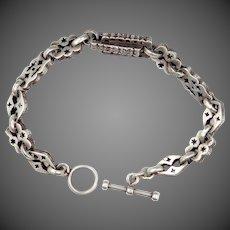 Solid Sterling Unisex Pierced Links Bracelet