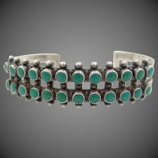 Navajo Sterling & Turquoise Petit Point Cuff Bracelet