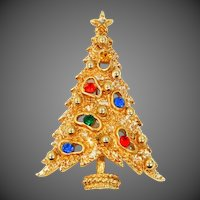ART Rhinestone Amoeba Christmas Tree Pin