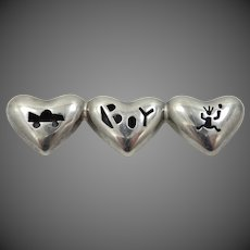 ANNI Sterling Silver Shadowbox Hearts Brooch