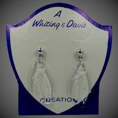 Whiting & Davis Glass Pierced Earrings MIP