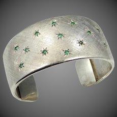 800S & Natural Emeralds Wide Cuff Bracelet