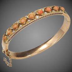 14k Rose Gold Victorian Coral & Diamond Bangle Bracelet