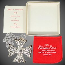 Sterling Reed & Barton 1975 Christmas Cross Ornament / Necklace MIB