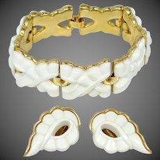 "Trifari Mid Century Thermoplastic ""X"" Pattern Bracelet & Earrings"