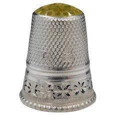 Sterling Enamel Thimble w/Yellow Glass Top