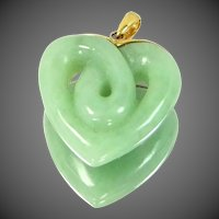 14k Gold Carved Jade Heart Pendant