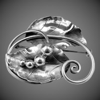 Georg Jensen USA Hand Wrought Sterling Silver Floral Pin #108