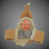 1940's Occupied Japan Clay Faced Santa Ornament