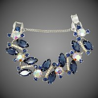 Juliana Wide Sapphire Glass Navettes 5 Link Bracelet Book Piece