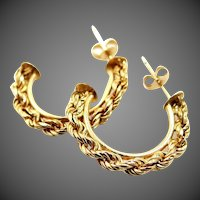 10k Gold Diamond Cut Twisted Rope Hoop Earrings