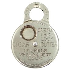 Antique Bashful Trick Lock Cigar Cutter Watch Fob