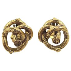 Zentall Knotted Twigs Clip on Earrings