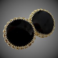 14k Gold Black Onyx Pierced Stud Earrings