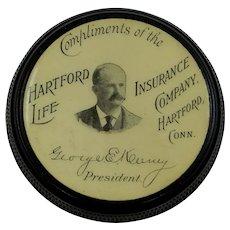 1890's Vulcanite Hartford Life Insurance Co. Stamp Box