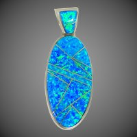 Signed Calvin Begay Inlaid Fire Opal Sterling Silver Pendant