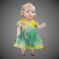 "Germany 4 1/2"" Antique Bisque Doll w/Original Dress"