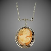 1920s Sterling Silver Cameo Necklace Paperclip Chain
