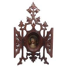Carved Wood Ca. 1800s French Reliquary w/Hand Painted Porcelain Image of Jesus