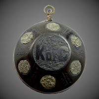 Antique Knights of Columbus Jet & Iron Pyrite Fob