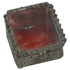 Antique Victorian Pressed Tin & Glass Tiny Jewelry Casket