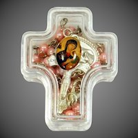 Nice Pink Rosary in Original Cross Shaped Case