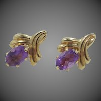 14k Gold Genuine Amethyst Stud Earrings