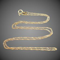 """14k Gold Twisted Rope 17"""" Long Chain"""