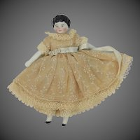 Vintage Germany Bisque & Cloth Miniature Doll
