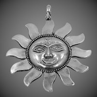 Large Sterling Silver Sun Rays Pendant