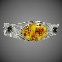 Sterling Silver & Natural Amber Bangle Bracelet