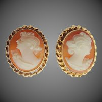 10k Gold Carved Shell Cameo Screw Back Earrings