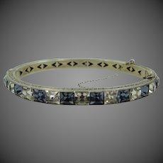 Art Deco Sapphire Blue Crystals Sterling Silver Bangle Bracelet