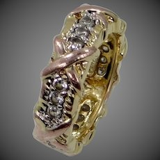 JBK Jackie Kennedy Sterling Vermeil Eternity Band with Box Ring