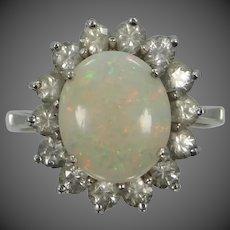 14k White Gold Opal & White Sapphires Size 7 3/4 Ring