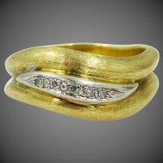 HEAVY 18k Solid Gold Diamonds Size 8 Ring