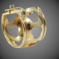Single 14k Disney Hidden Mickey Cut-out Design Hoop Earring