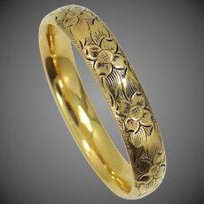 Carl Art Gold Filled Floral Bangle Bracelet